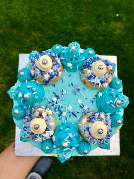top view of It's a Boy Cake