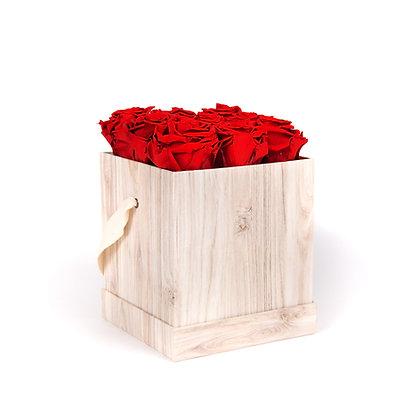 9 Roses Eternelles Rouge Passion - Box carrée Bois Clair