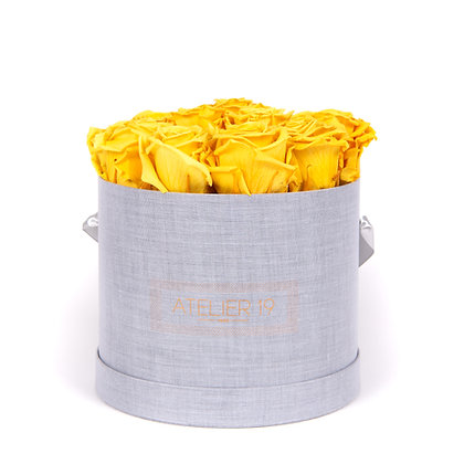 15 Roses Eternelles Jaune d'Or - Box Ronde Gris Chiné XL