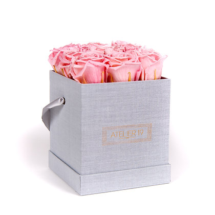 9 Roses Eternelles Rose Tendre - Box carrée Gris Chiné