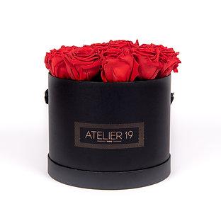 15 Roses Eternelles Rouge Passion - Box Ronde Noire XL
