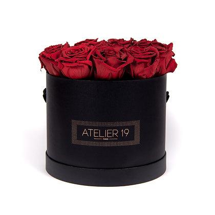 15 Roses Eternelles Carmin Intense - Box Ronde Noire XL