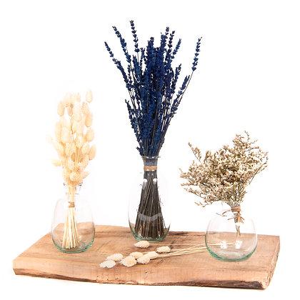 3 Vases de fleurs séchées  - Trio Phalaris Bleu Lavande