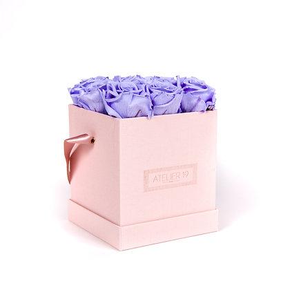 9 Roses Eternelles Parme Doux - Box carrée Rose Poudré