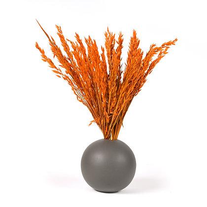 Vase Boule de Graminées séchées Orange Vibrant