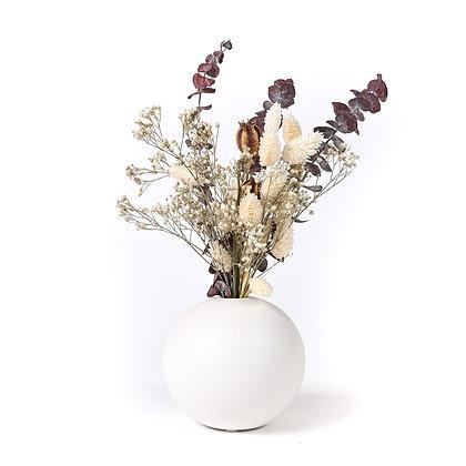 Vase Boule de Fleurs séchées - Pavot Pourpre