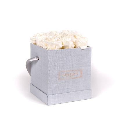 9 Roses Eternelles Blanc Pur - Box carrée Gris Chiné