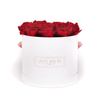 15 Roses Eternelles Rouge Passion -  Box Ronde Blanche XL