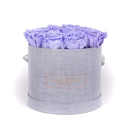 15 Roses Eternelles Parme Doux - Box Ronde Gris Chiné XL