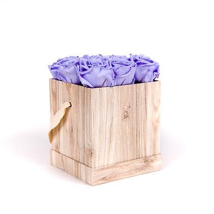 9 Roses Eternelles Parme Doux - Box carrée Bois Clair