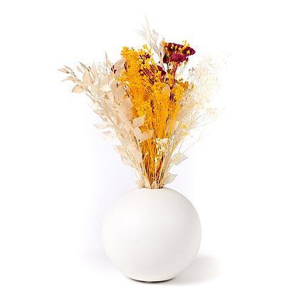 Vase Boule de Fleurs séchées - Ruscus Jaune d'Or