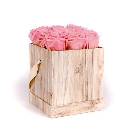 9 Roses Eternelles Bois de Rose - Box carrée Bois Clair