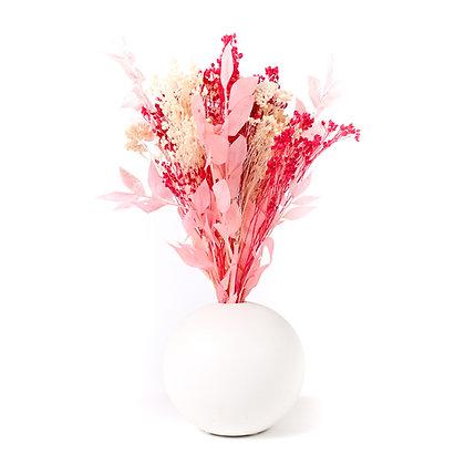 Vase Boule de Fleurs séchées - Ruscus Fuchsia