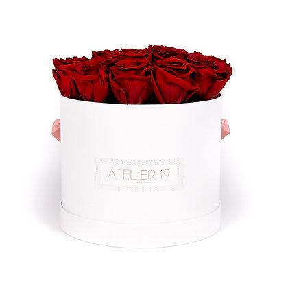 15 Roses Eternelles Carmin Intense -  Box Ronde Blanche XL