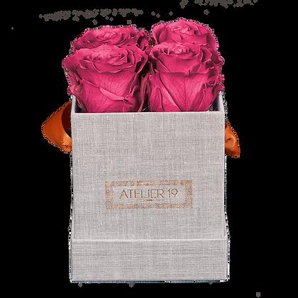 4 Eternal Roses - Fuchsia Peps - Grey square Box