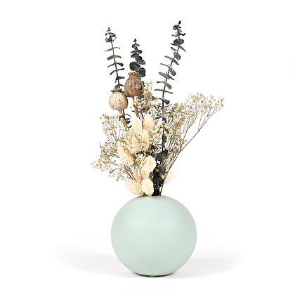 Vase Boule de Fleurs séchées - Pavot Vert Bleuté