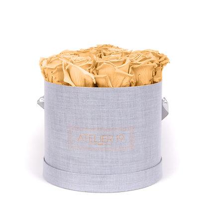 15 Eternal Roses - Velvety Peach - XL Heather Grey Round Box