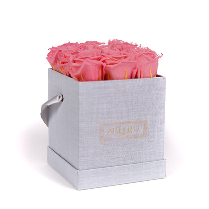 9 Roses Eternelles Bois de Rose - Box carrée Gris Chiné