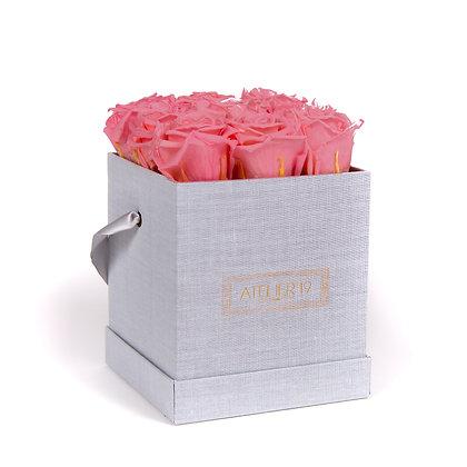 9 Roses Eternelles Bois de Rose - Box carrée Gris Chiné