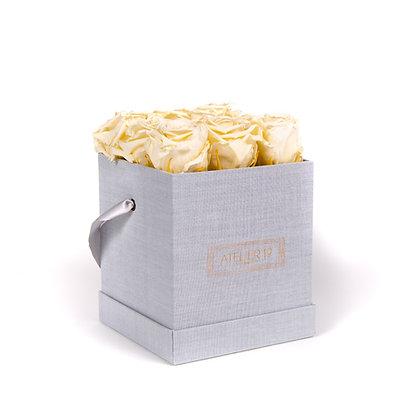 9 Roses Eternelles Champagne - Box carrée Gris Chiné