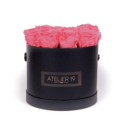 15 Roses Eternelles Bois de Rose - Box Ronde Noire XL