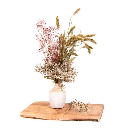 Vase céramique de Fleurs séchées - Gypsophile Rose Tendre