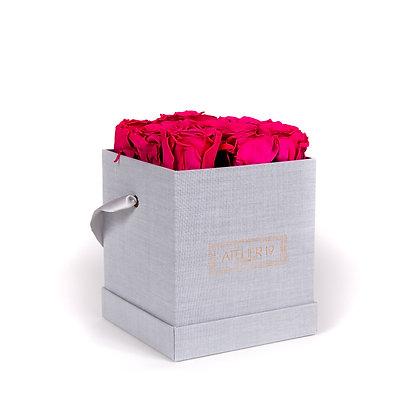9 Roses Eternelles Fuchsia Peps - Box carrée Gris Chiné