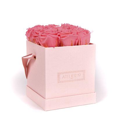 9 Roses Eternelles Bois de Rose - Box carrée Rose Poudré