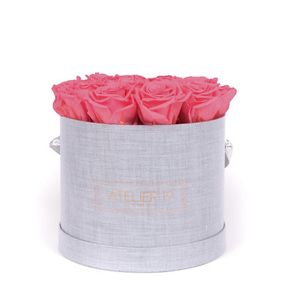 15 Eternal Roses - Rosewood - XL Heather Grey Round Box