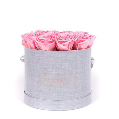 15 Eternal Roses - Soft Pink - XL Heather Grey Round Box