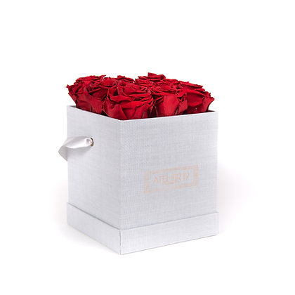 9 Roses Eternelles Carmin Intense - Box carrée Gris Chiné