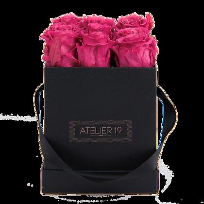 9 Roses Eternelles Fuchsia Peps - Box carrée Noire