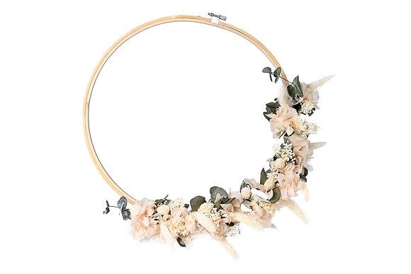 Couronne de Fleurs séchées  - Hortensia Rose Tendre