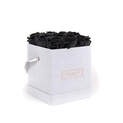 9 Roses Eternelles Noir Profond - Box carrée Gris Chiné