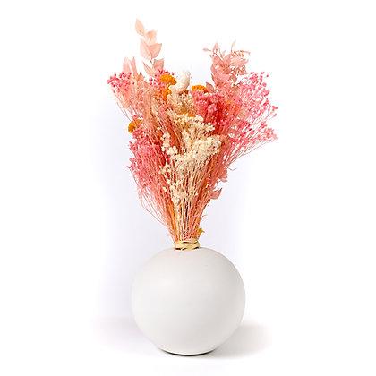 Vase Boule de Fleurs séchées - Ruscus Soleil Rose