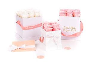 Box 4 roses éternelles personnalisée