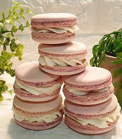 Pink Macarons with buttercream. I find m