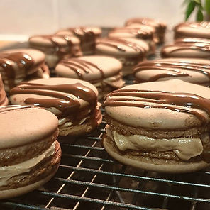 Chocolate hazelnut macarons with chocola