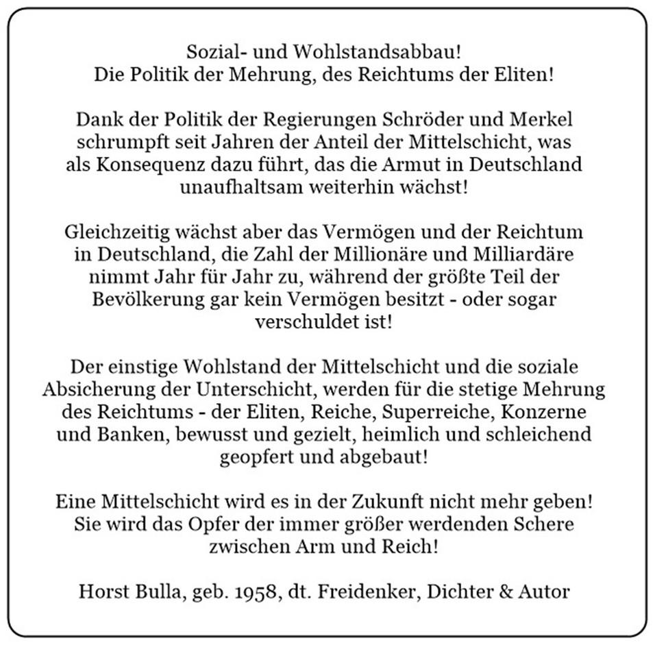 Sozial-und Wohlstandsabbau.