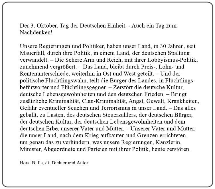 Der 3. Oktober, Tag der Deutschen Einheit. - Auch ein Tag zum Nachdenken!  Kurzversion - Horst Bulla