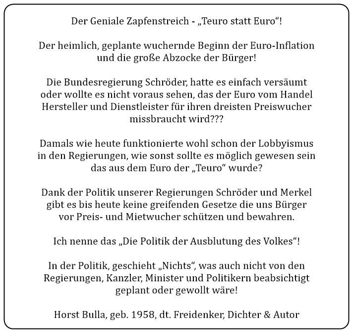 (2) Der Geniale Zapfenstreich. Teuro statt Euro. - Horst Bulla