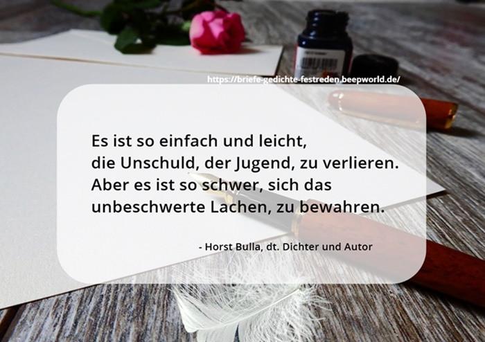 Es ist so einfach und leicht. - Horst Bulla Poet and Author