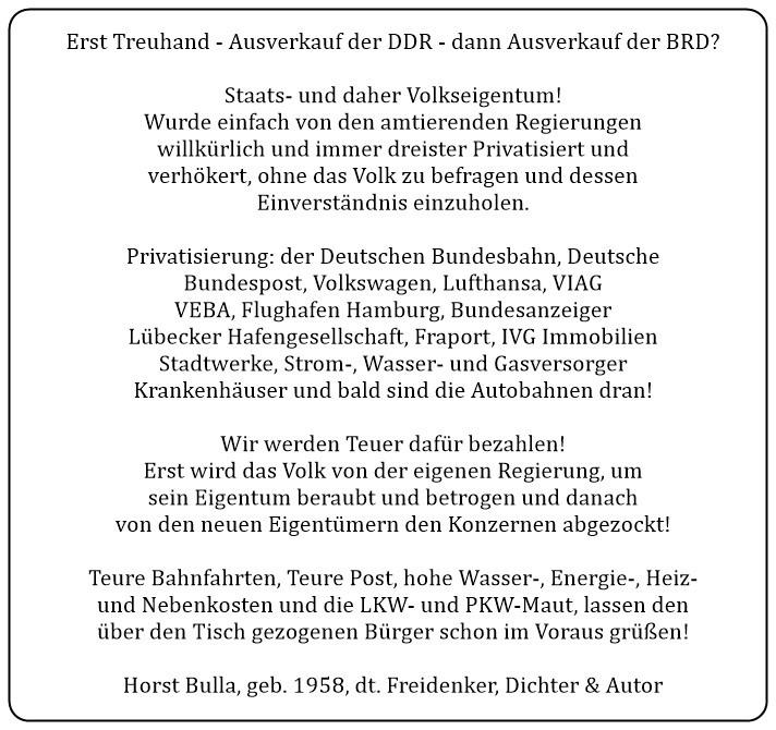 (3) Erst Treuhand. Ausverkauf der DDR. Dann Ausverkauf der BRD. - Horst Bulla