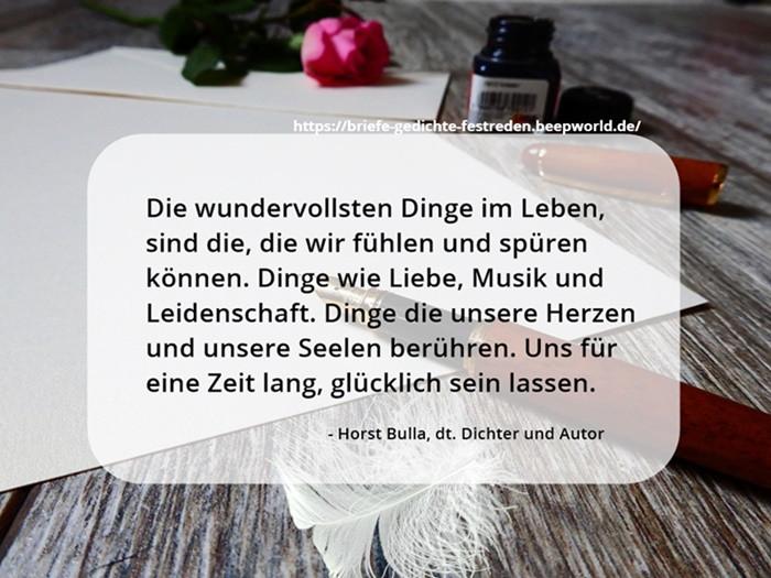 Die wundervollsten Dinge im Leben. - Horst Bulla Poet and Author