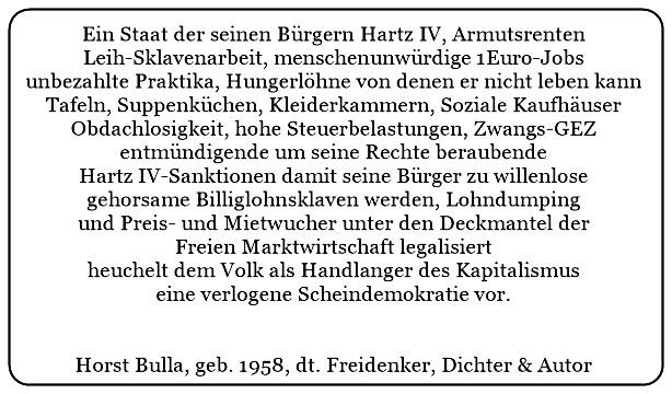 (14) Geheuchelte verlogene Scheindemokratie. Staat und Regierung als Handlanger des Kapitalismus. - Horst Bulla