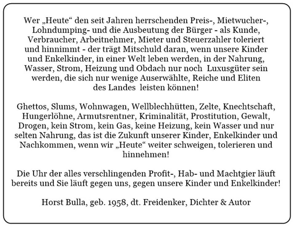 Preiswucher, Mietwucher, Lohndumping und Steuerraub am Volk.