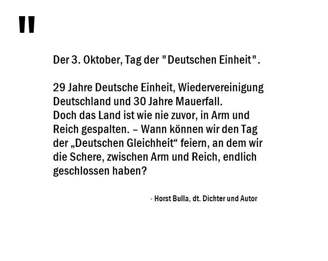 30 Jahre Mauerfall - Schere, zwischen Arm und Reich. Das Land in Arm und Reich gespalten. - Horst Bulla