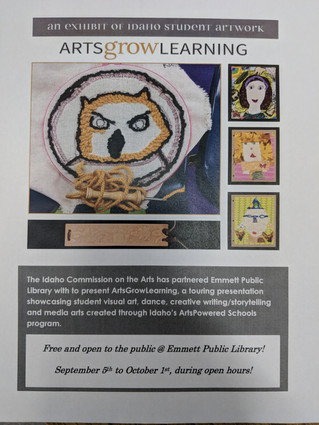 ArtsGrowLearning Exhibit @ the library September 5th-October 1st.  Take a look!  A special art proje