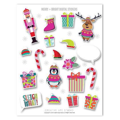 Merry + Bright Digital Stickers