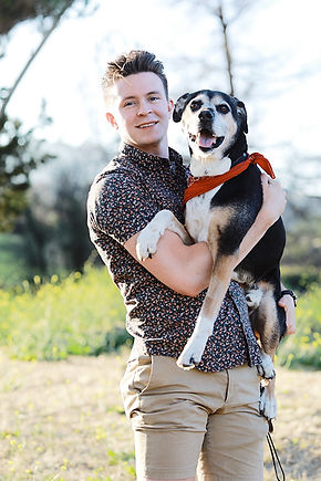 Ethan Sigmon and Banksy, the mascot pup of Monroe Films
